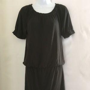 Chadwick's Black Short Sleeves Elastic Waist Dress